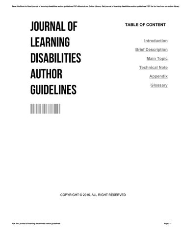 Journal of learning disabilities author guidelines by 69postix577