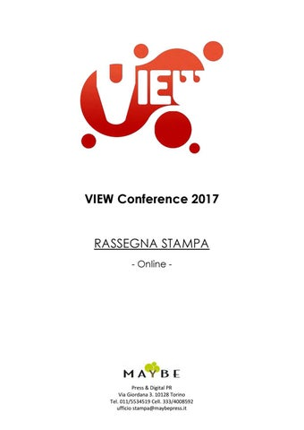 VIEW Conference Rassegna stampa online by maybe ufficio stampa - issuu 1285acc646f