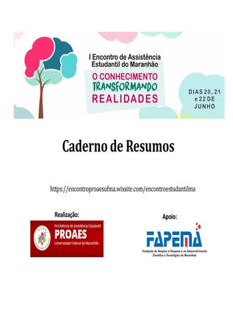 b5aecc4e800 Caderno de resumos I Encontro de Assistência Estudantil do Maranhão ...
