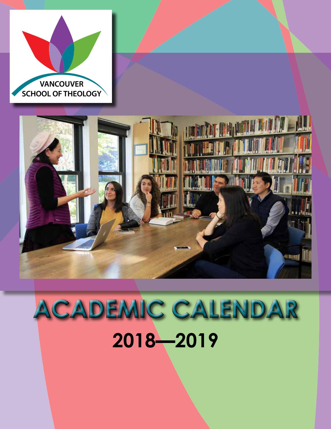 VST Academic Calendar 2018-2019 by Vancouver School of Theology - issuu