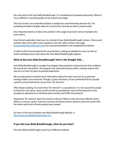 Get Lean Belly Breakthrough By Dinahchapin Issuu