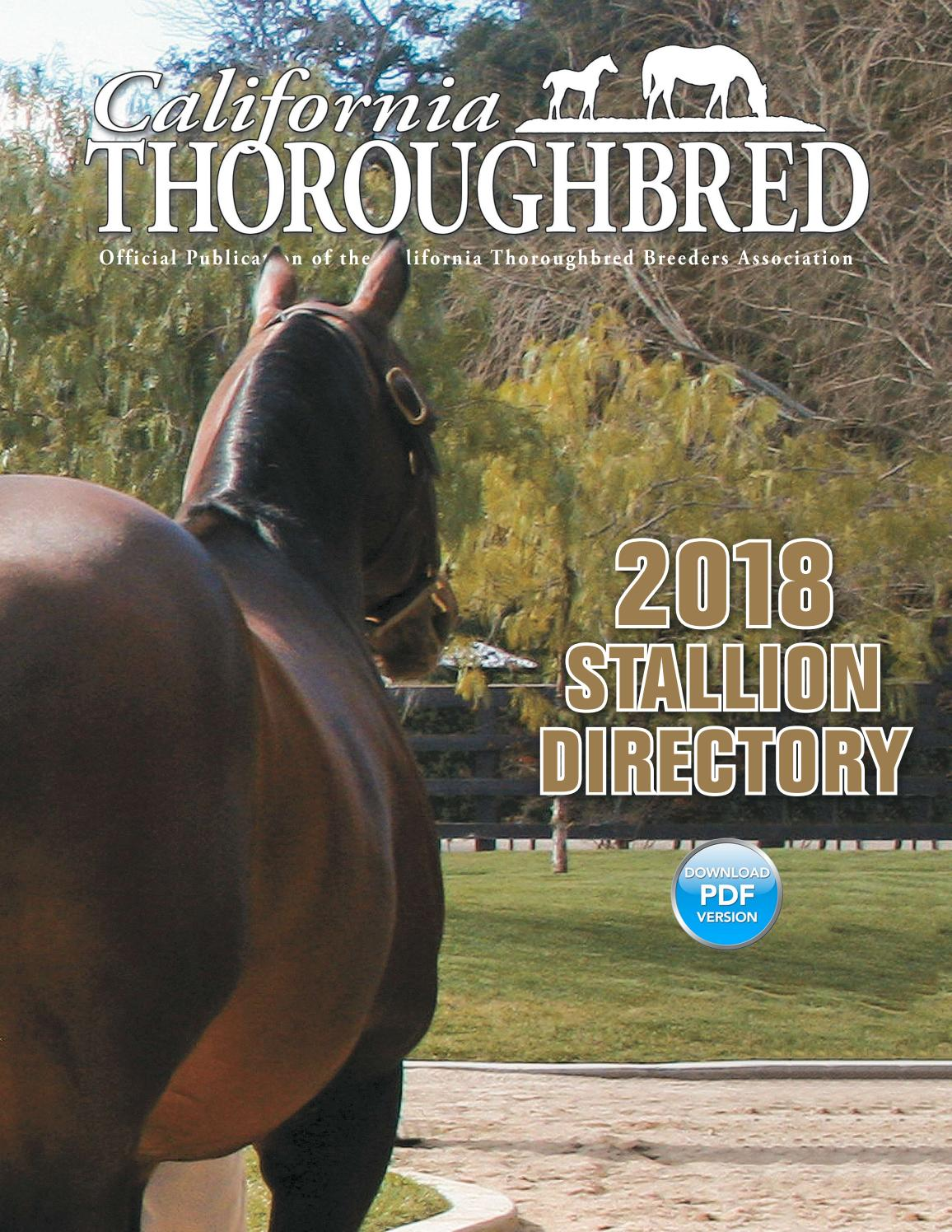 California Thoroughbred Stallion Directory 2018 By CTBA