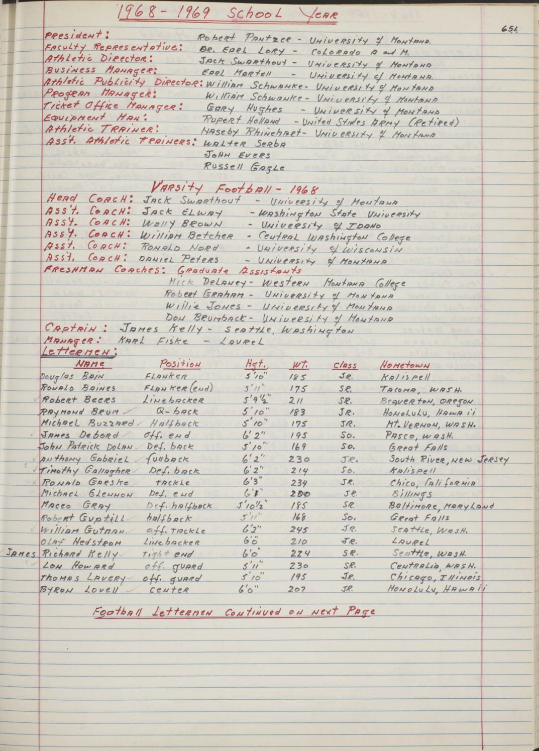 Red Book 21: 1968-1969 by University of Montana Athletics
