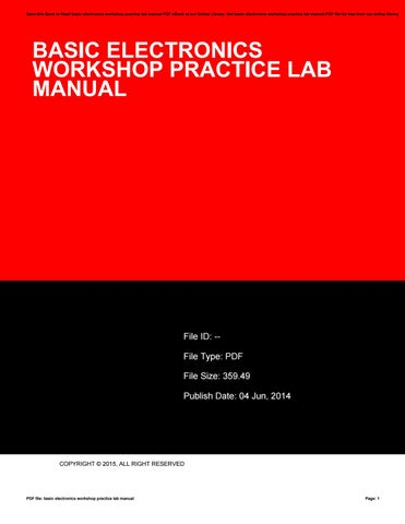 basic electronics workshop practice lab manual by vssms87 issuu rh issuu com workshop practice lab manual workshop practice lab manual for diploma