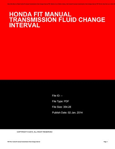 Honda fit manual transmission fluid change interval by