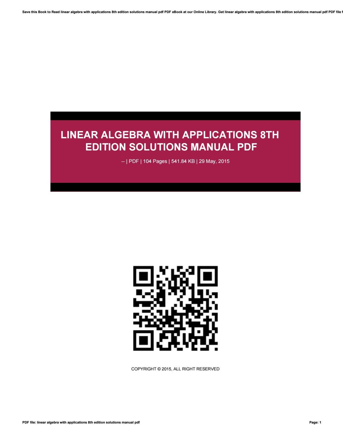 Linear algebra with applications 8th edition solutions manual pdf by  tvchd33 - issuu