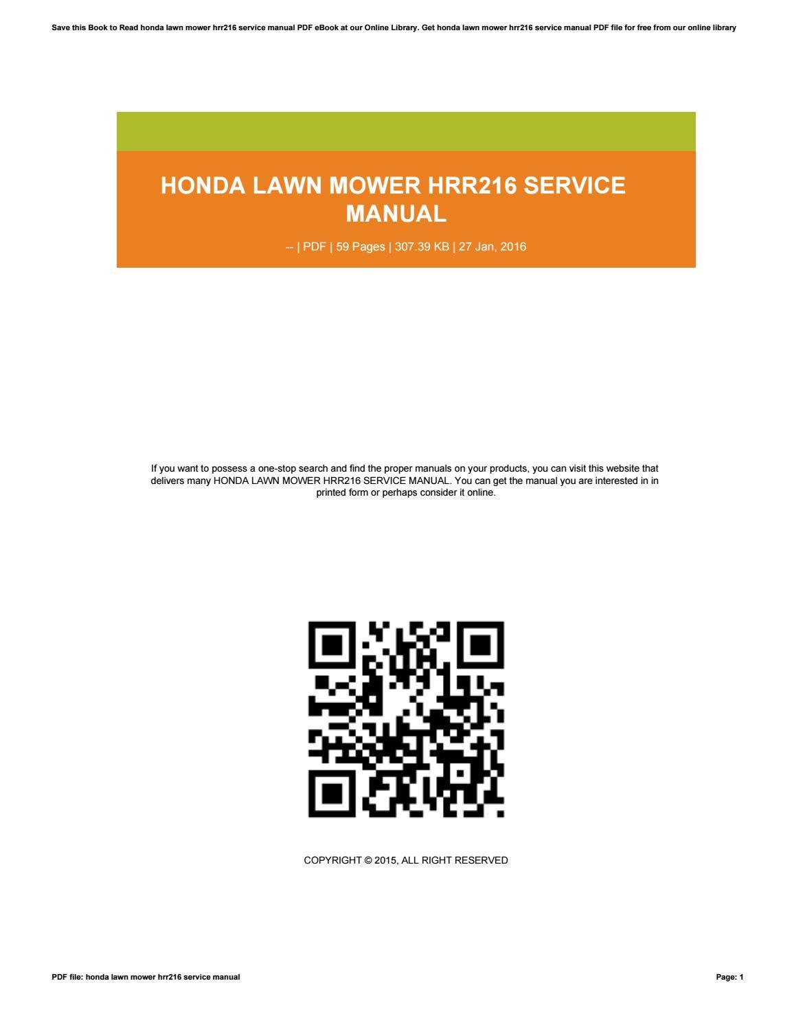 Honda Lawn Mower Hrr216 Service Manual By Vssms393   Issuu