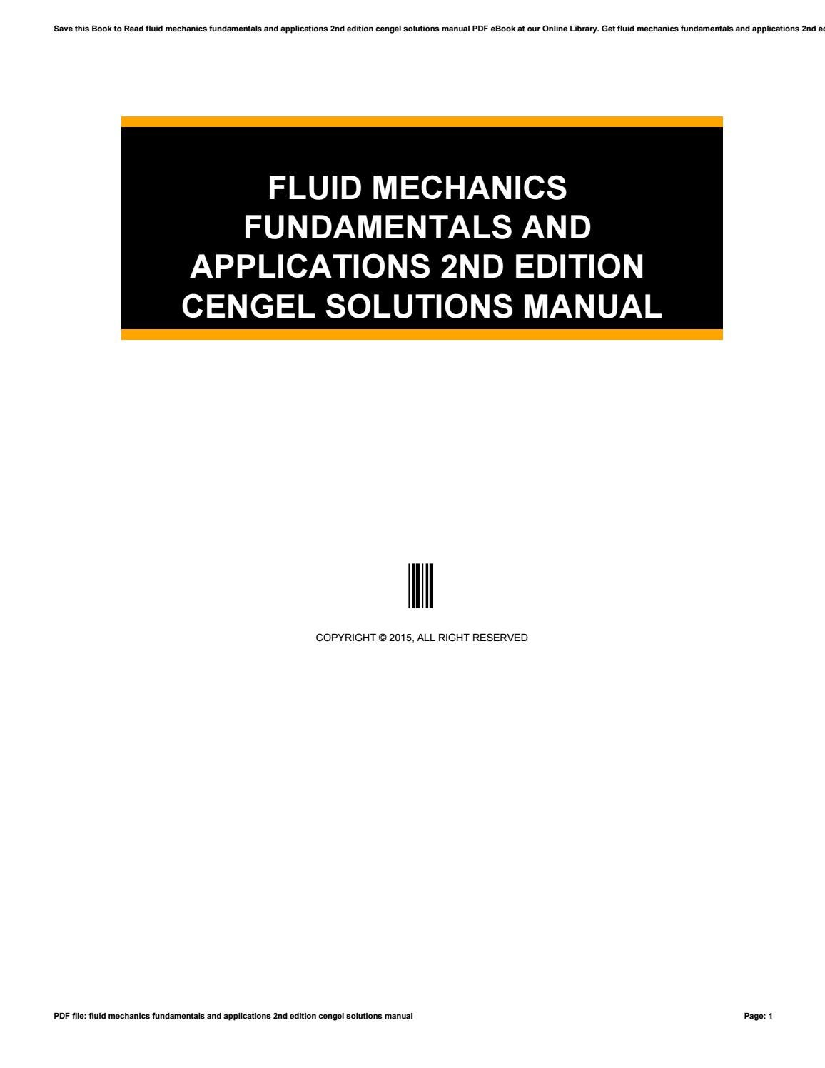 fluid mechanics fundamentals and applications 2nd edition cengel rh issuu  com Cengel Fluid Mechanics 3rd Edition Cengel Fluid Mechanics PDF