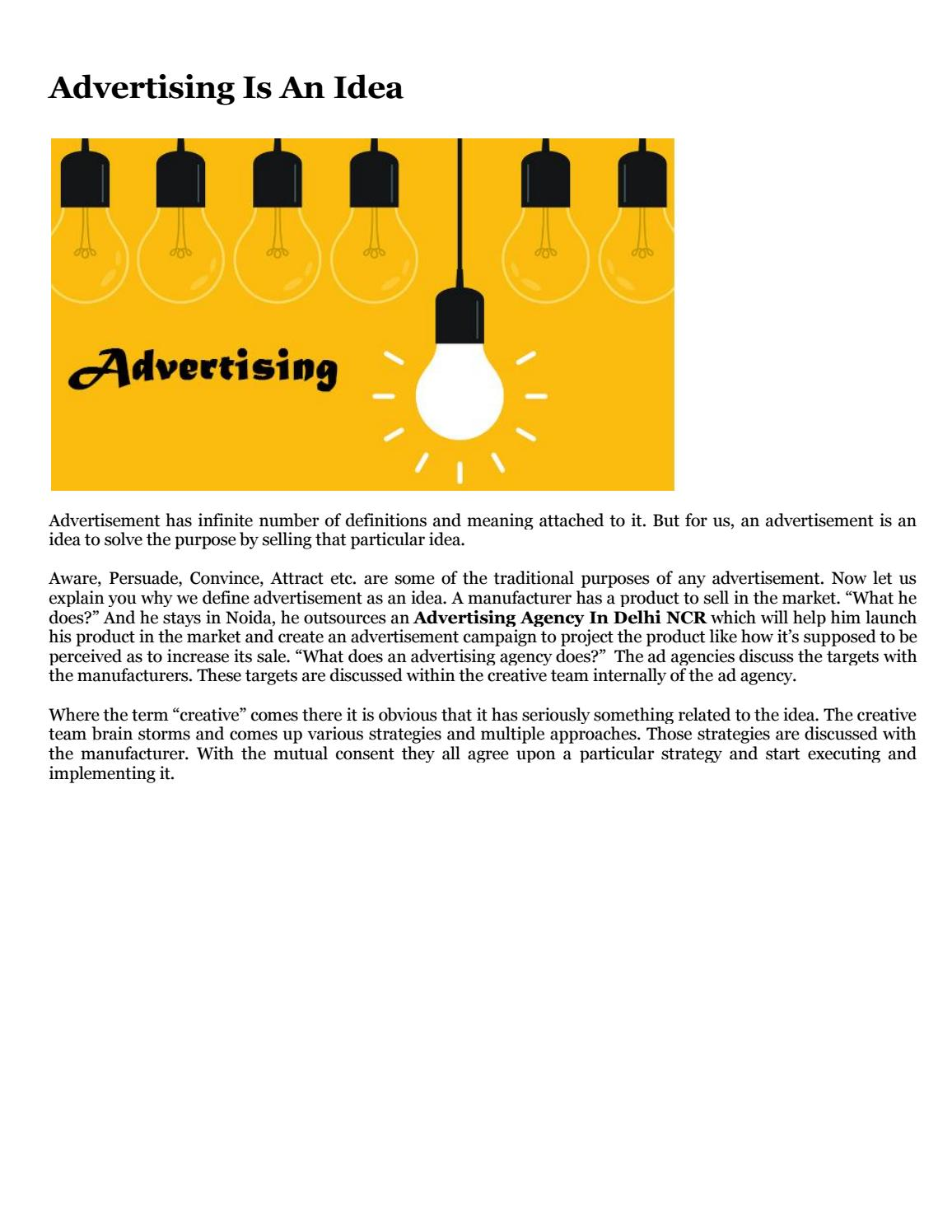 Advertising Is An Idea by Brand Wand - issuu