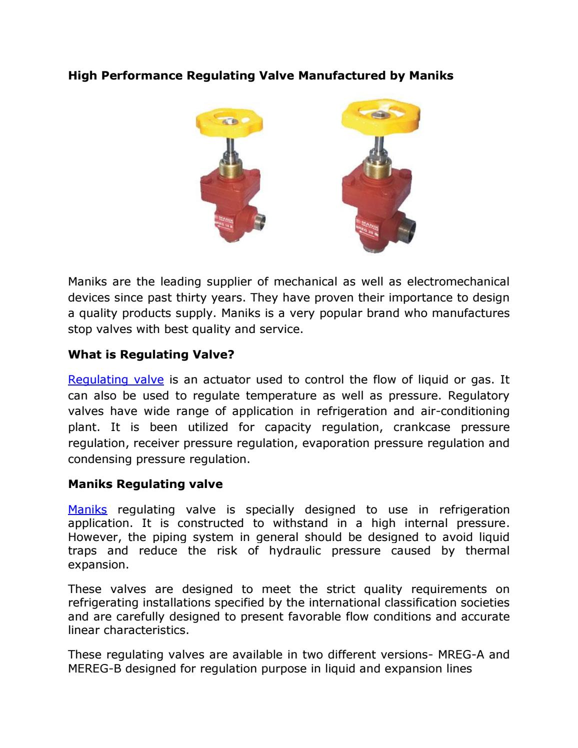 High performance regulating valve manufactured by mankis by Maniks