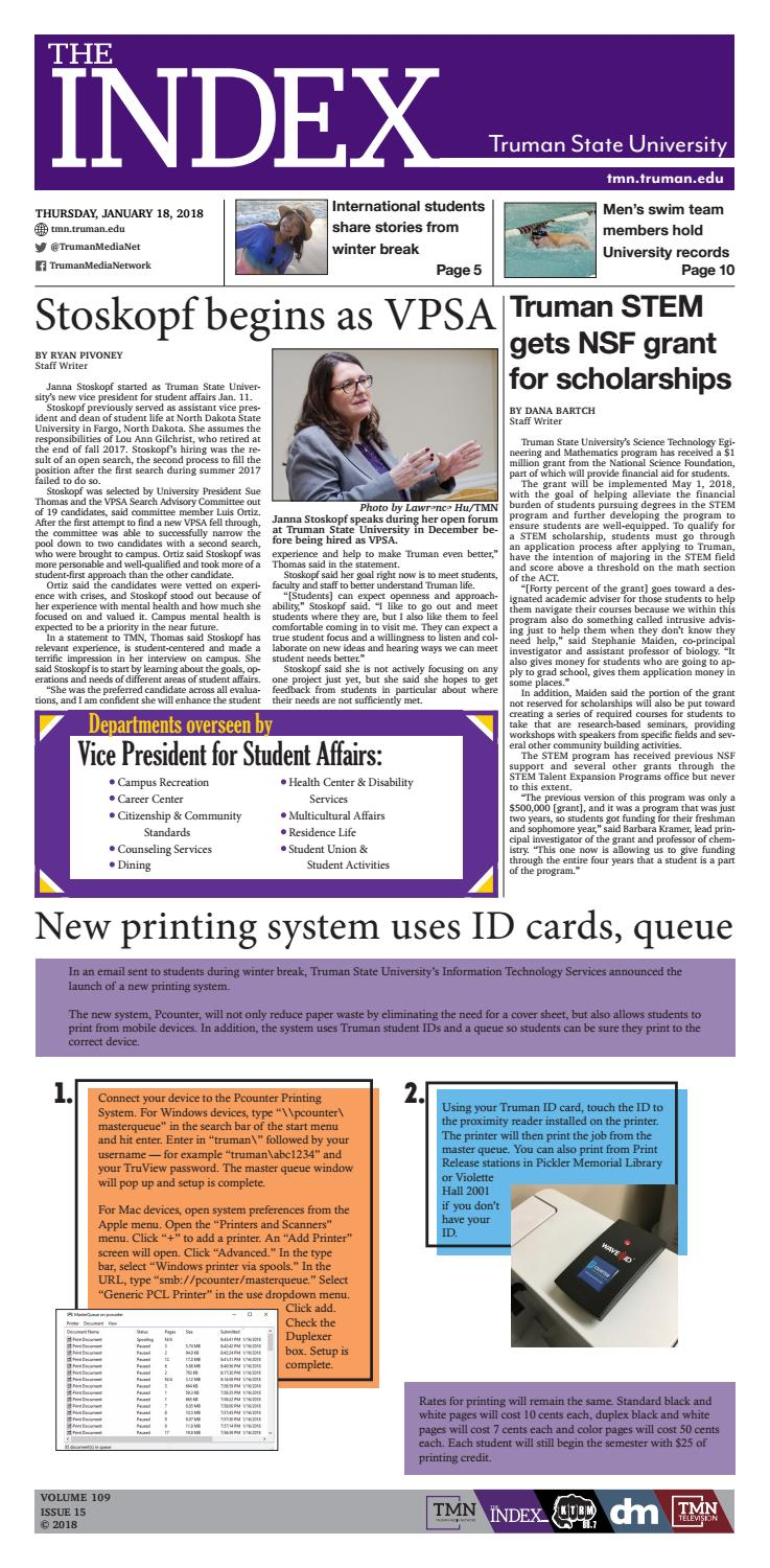 The Index Vol  109 Issue 15 by Truman State University Index - issuu