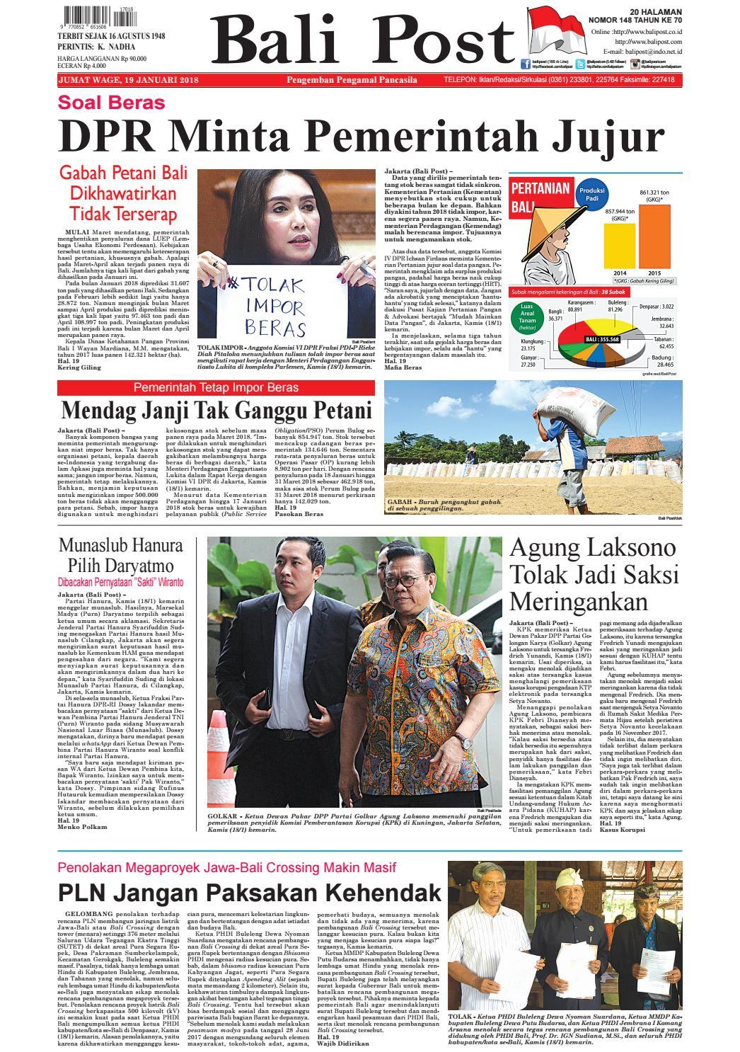 Edisi 19 Januari 2018 Balipost Com By E Paper Kmb Issuu
