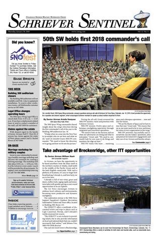 Schriever Sentinel January 18, 2018 by Colorado Springs Military