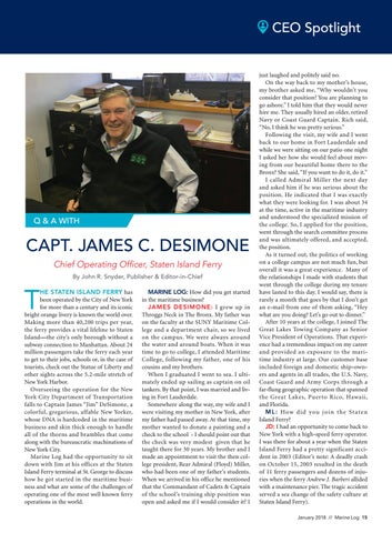 Page 17 of CEO Spotlight: James C. DeSimone, COO, Staten Island Ferry