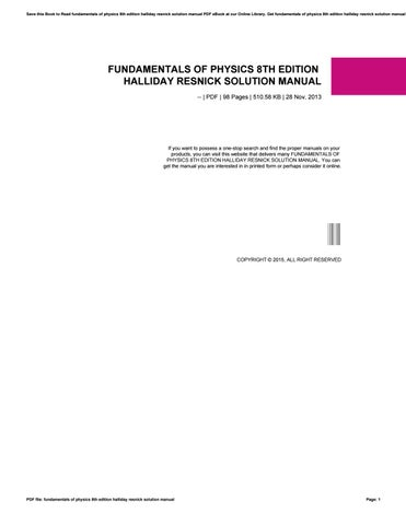 Fundamentals Of Physics 8th Edition Halliday Resnick