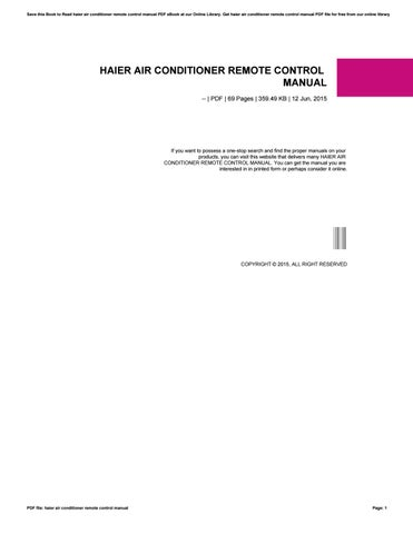 Haier Air Conditioner Remote Control Manual By Dfg699 Issuu