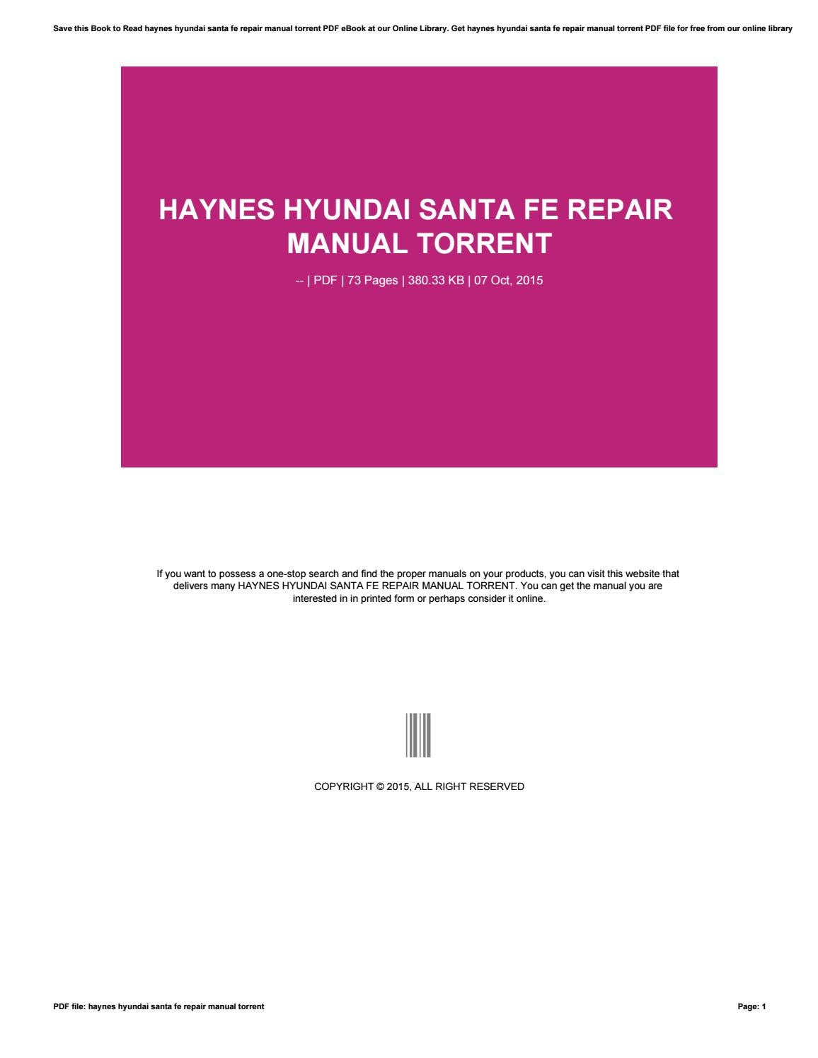 Haynes Hyundai Santa Fe Repair Manual Torrent By E4573