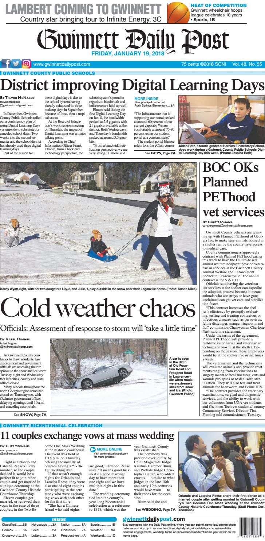January 19, 2018 Gwinnett Daily Post by Gwinnett Daily Post