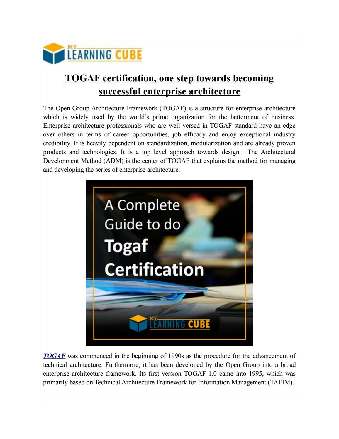 Mylearningcube Online Togaf Training By Mylearningcube Issuu