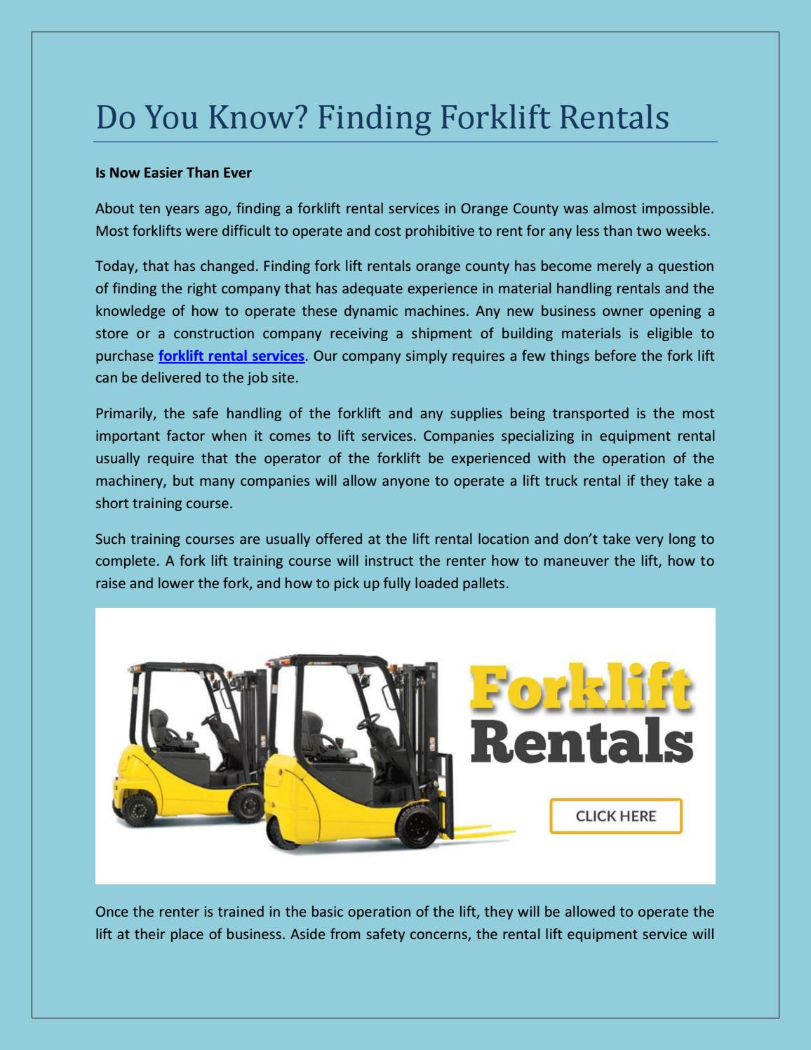 Do you know finding forklift rentals by bigjoeliftca - issuu