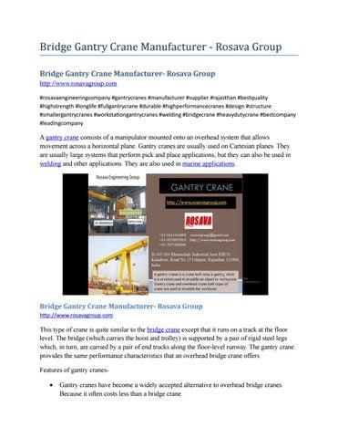 Bridge granty crane manufacturer rosava group by Alkama RTC