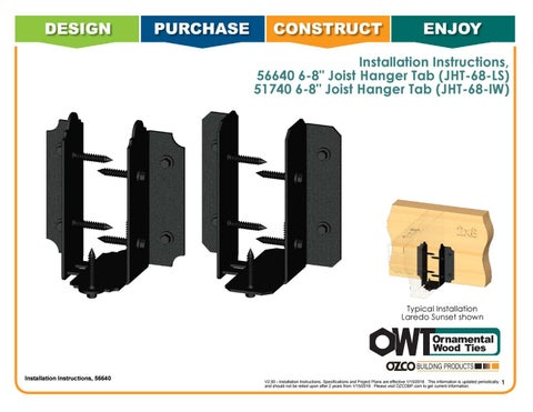 Installation Instructions 56640 6 8 Joist Hanger Tab JHT 68 LS 51740 IW