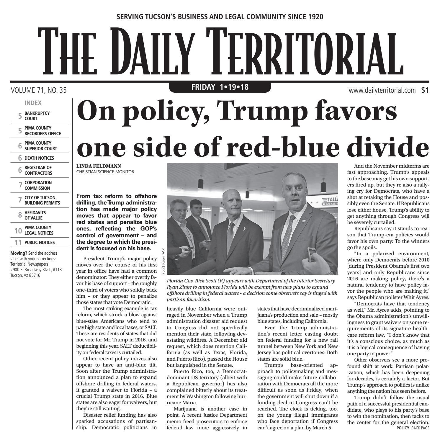 Trump Tax Plan Courts Major Backlash: 01/19/2018 The Daily Territorial By Wick Communications