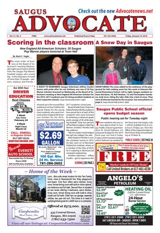 THE SAUGUS ADVOCATE - Friday, January 19, 2018