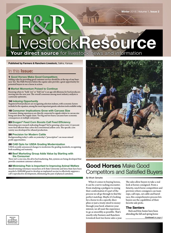 F&R Livestock Resource, Winter 2018 by F&R Livestock
