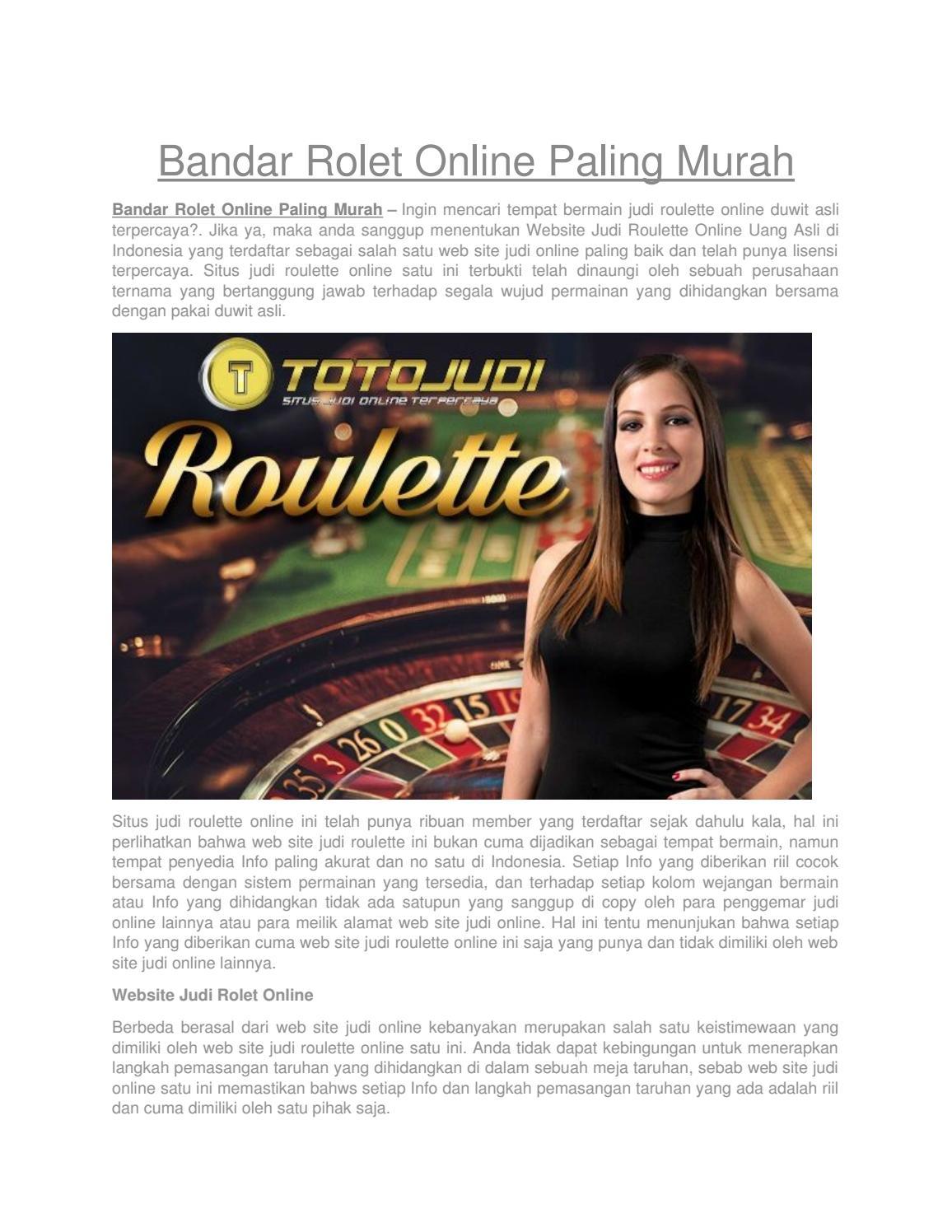 Bandar Rolet Online Paling Murah By Jennifer Angel Issuu