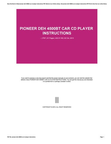 Pdf download | pioneer deh-4500bt user manual (8 pages) | also for.