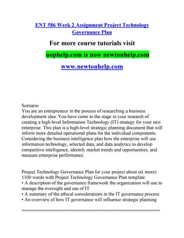 Ent  Week  Assignment Project Technology Governance Plan By C