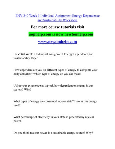 Env 340 week 1 individual assignment energy dependence and ...