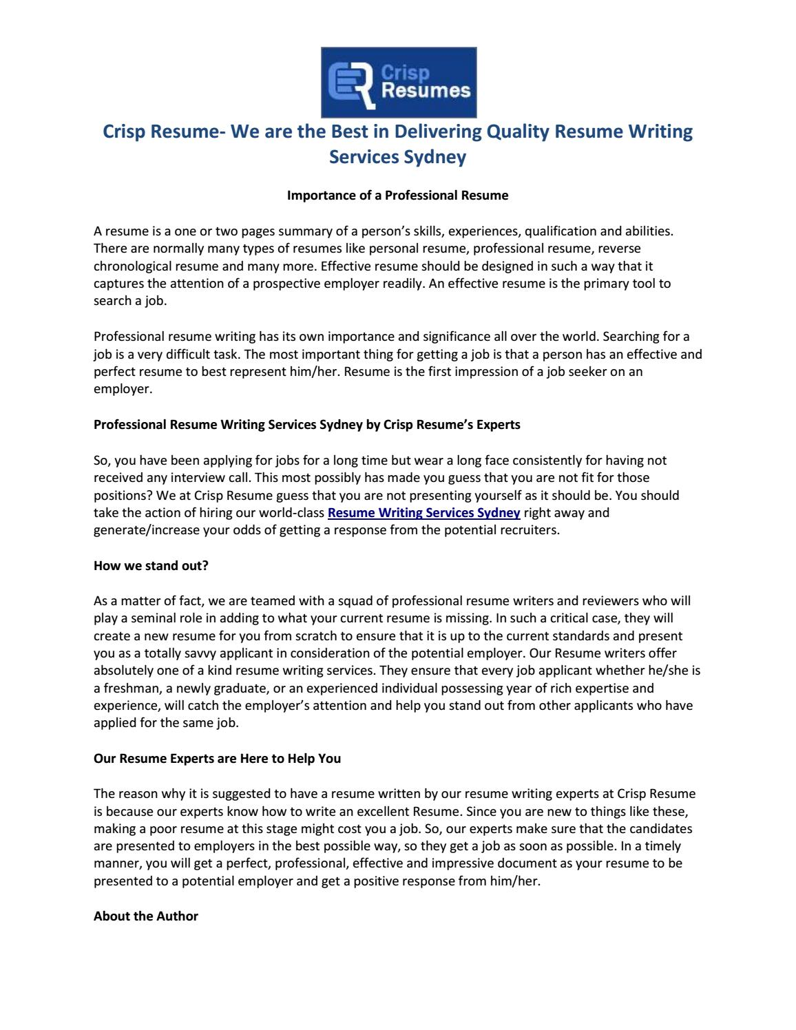 Crisp Resume We Are The Best In Delivering Quality Resume Writing