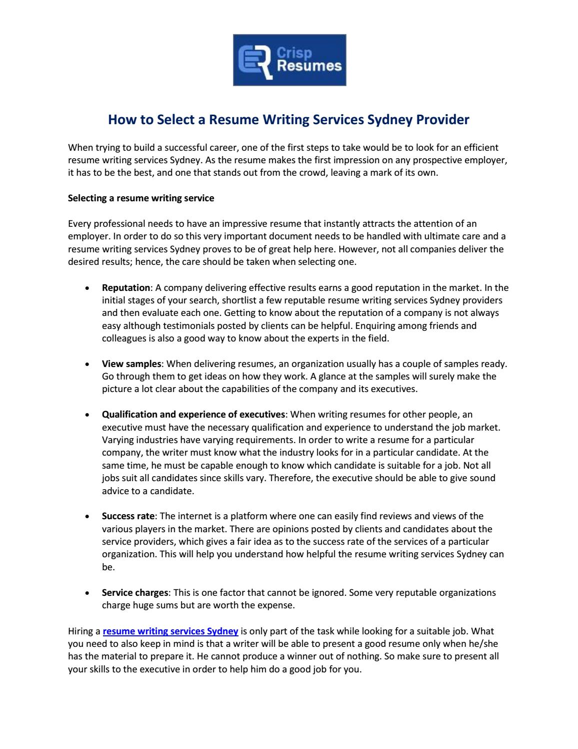 how to select a resume writing services sydney provider by crisp