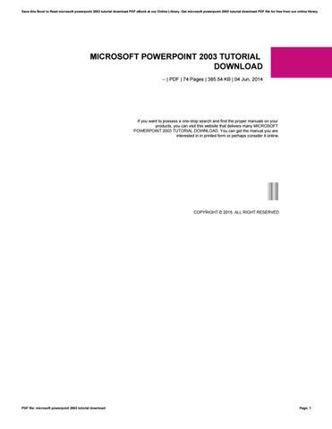 Microsoft Powerpoint 2003 Tutorial Pdf