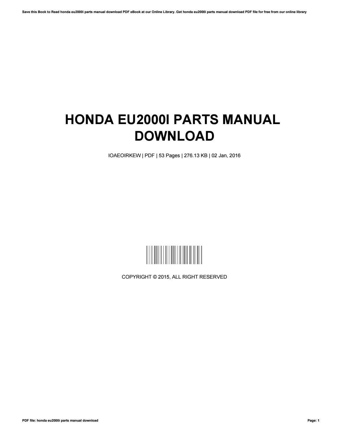 Miraculous Honda Eu2000I Parts Manual Download By 50Mb347 Issuu Wiring Digital Resources Instshebarightsorg