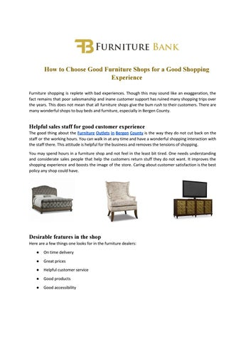 How To Choose Good Furniture Shops For A Good Shopping Experience