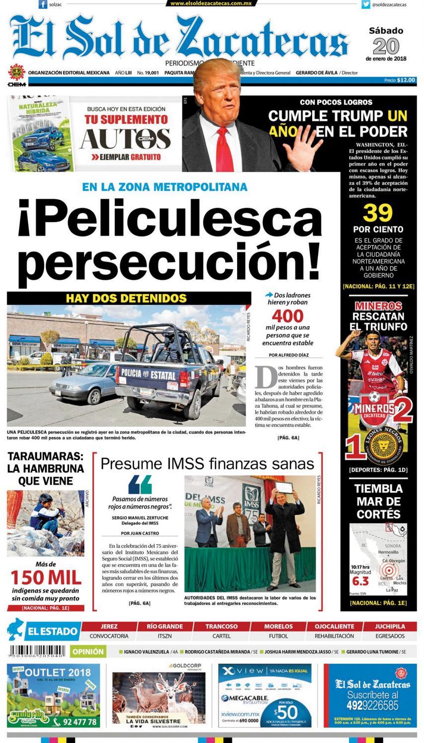 5e0ea9c0fac El Sol de Zacatecas 20 de enero 2018 by El Sol de Zacatecas - issuu