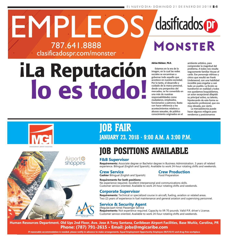 Empleos 01 21 2018 by ClasificadosPR.com - issuu