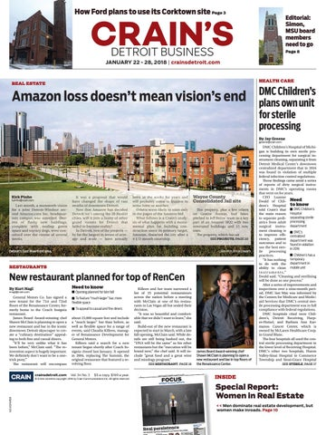 Crain's Detroit Business, Jan  22, 2018 issue by Crain's Detroit