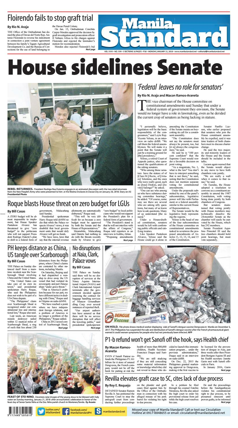 Manila Standard - 2018 January 22 - Monday by Manila