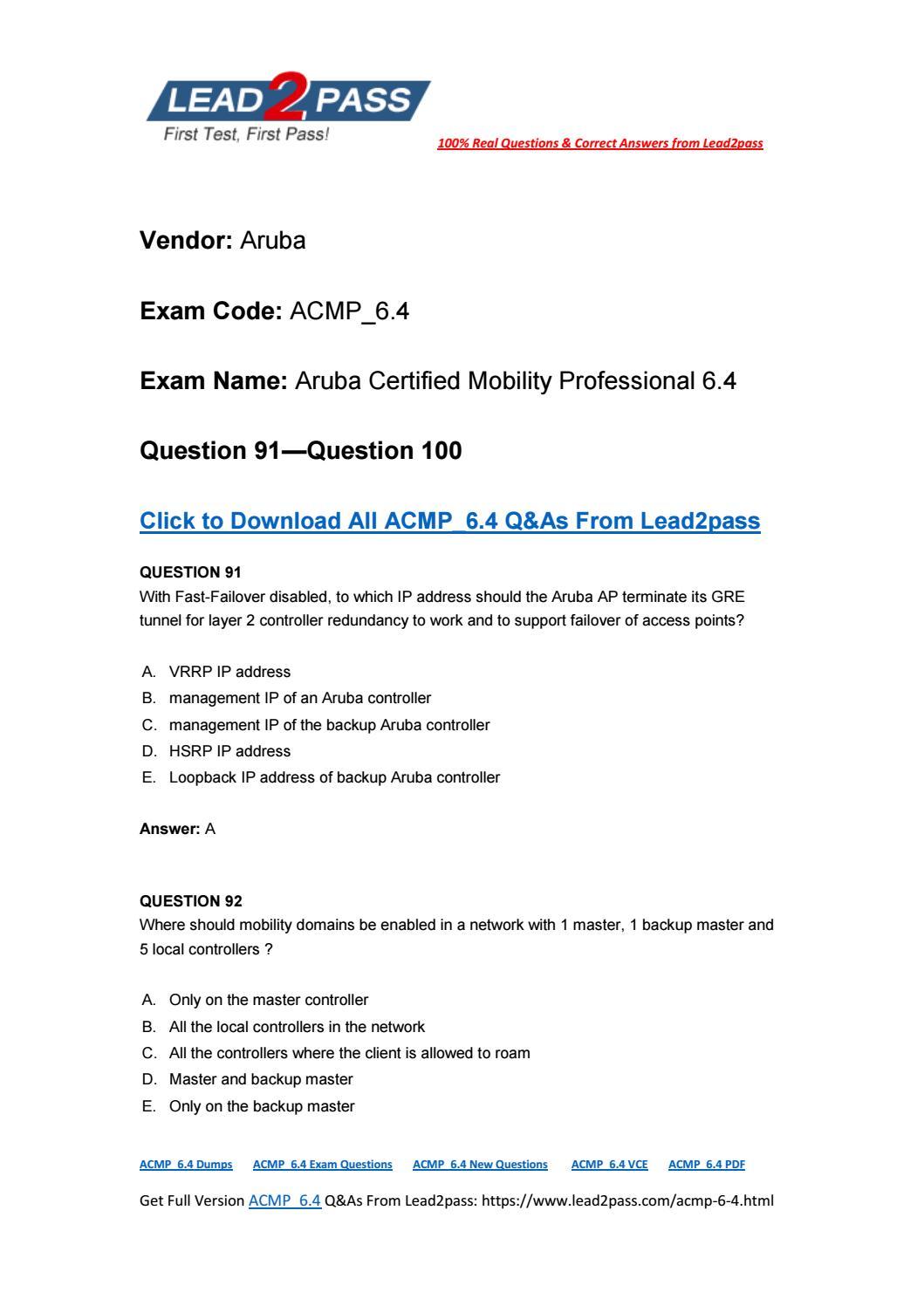 Lead2pass New ACMP_6 4 Exam PDF Ensure ACMP_6 4