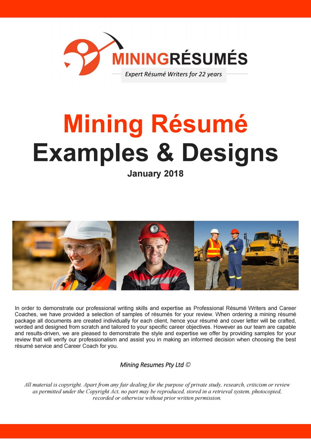 2018 Mining Resume Samples By 1300 Resume Issuu