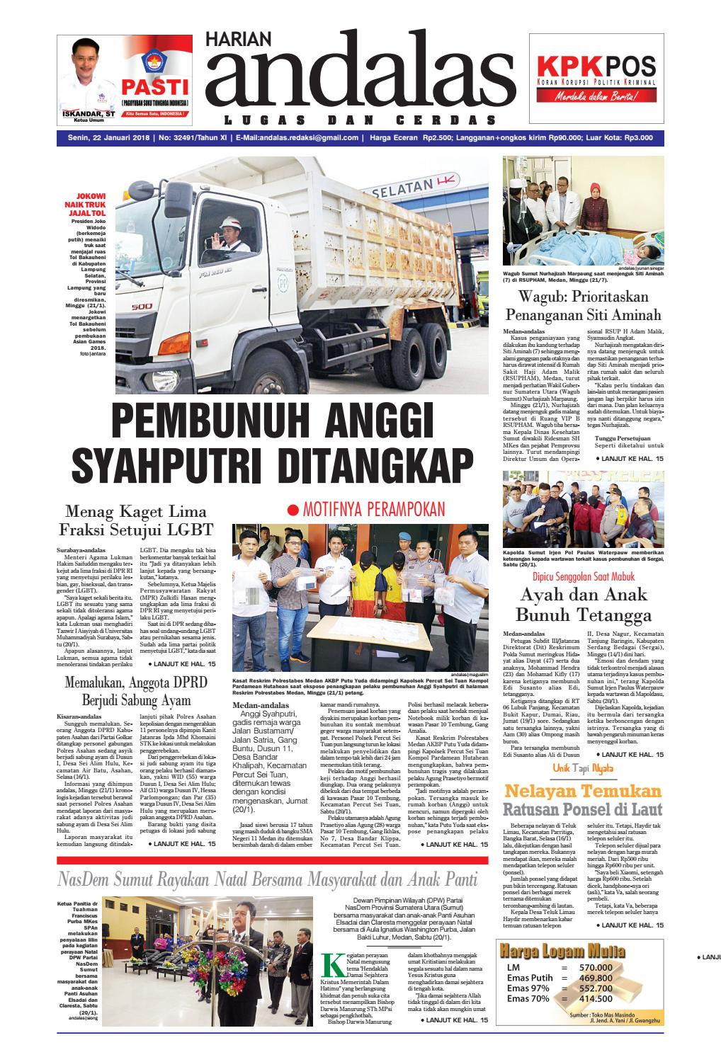 Epaper andalas edisi senin 22 januari 2018 by media andalas issuu