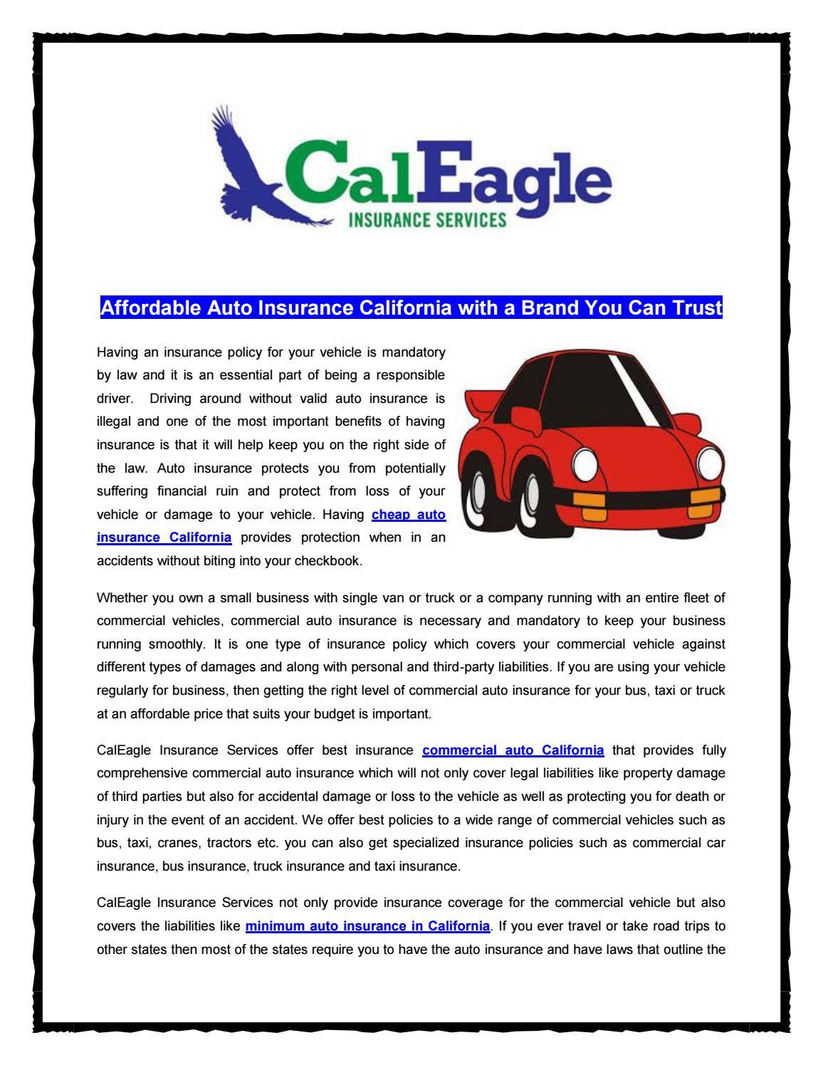 Affordable auto insurance california by CalEagle Insurance