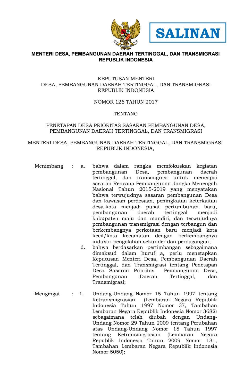 Kepmendesapdtt Nomor 126 Ttg Penetapan 17 000 Desa Prioritas Salinan Lampiran By Nasrulrizal Issuu