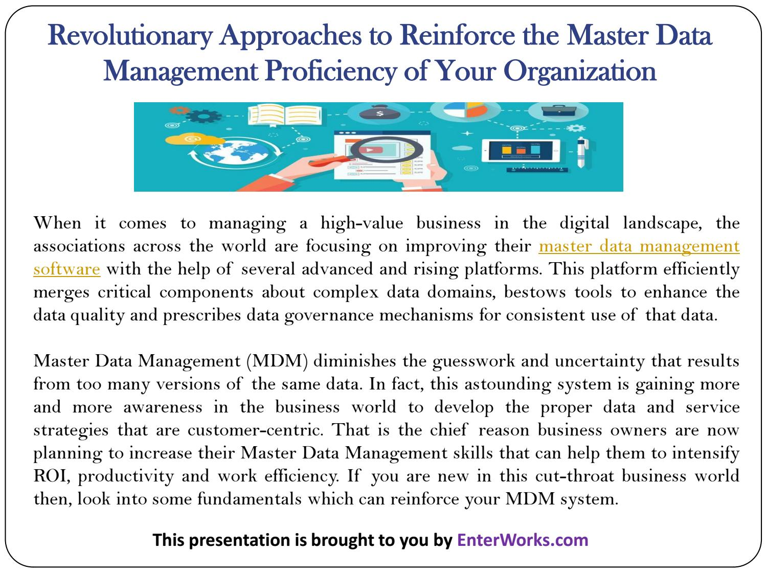 business drivers for master data management