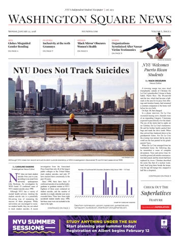 Washington Square News January 22, 2018 by Washington Square