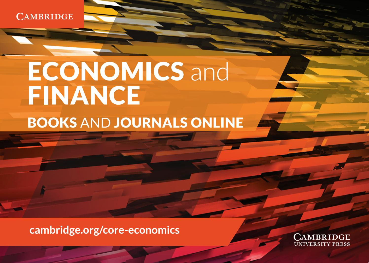 Economics and Finance Books and Journals Online by Cambridge